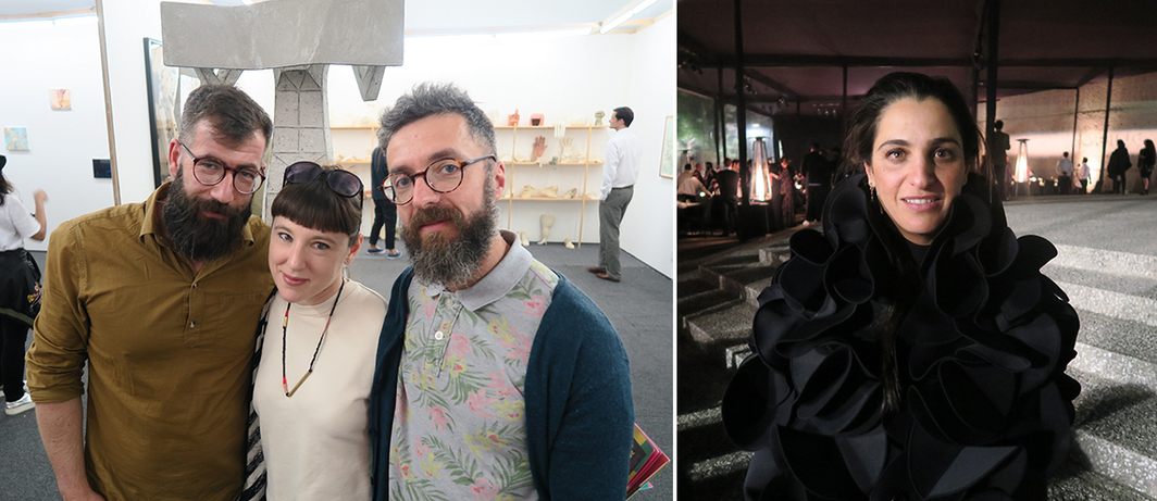 Left: Kunsthalle Lissabon codirector and curator João Mourão, Philadelphia ICA curator Alex Klein, and Kunsthalle Lissabon codirector and curator Luís Silva. Right: Soumaya Slim.