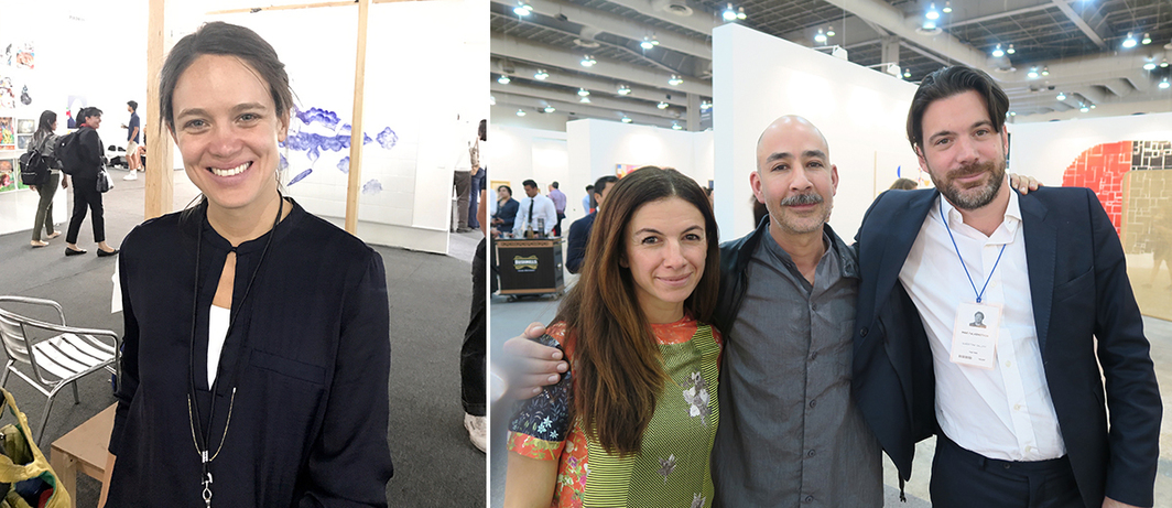 Left: Alumnos47 founder Adriana Maurer. Right: Art advisor Sabrina Buell with dealers Adrian Rosenfeld and Max Falkenstein.