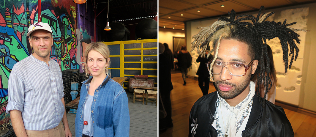 Left: Artist Markus Selg and curator Attilia Fattori Franchini. Right: Artist Yung Jake.