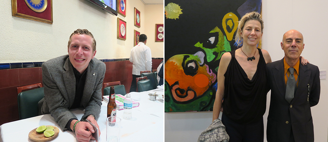 Left: Dealer Homero Fernández. Right: Curator Magali Ariola and dealer Marc Foxx.