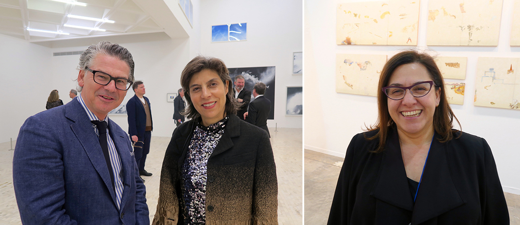 Left: Dealer Victor Giesler and art adviser/curator Ana Sokoloff. Right: Dealer Isa Benitez.