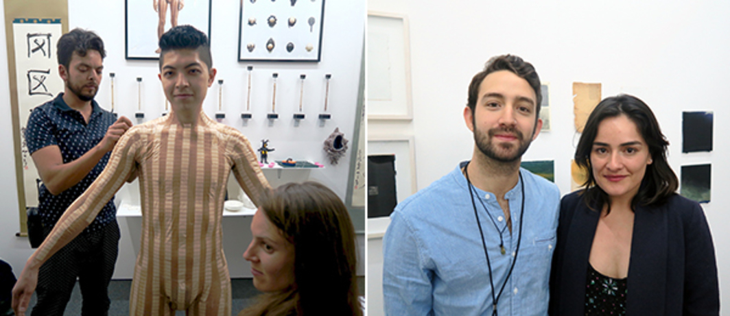 Left: Artist Ryohta Shimamto. Right: Artist Mateo Zuñiga and dealer Liz Caballero.