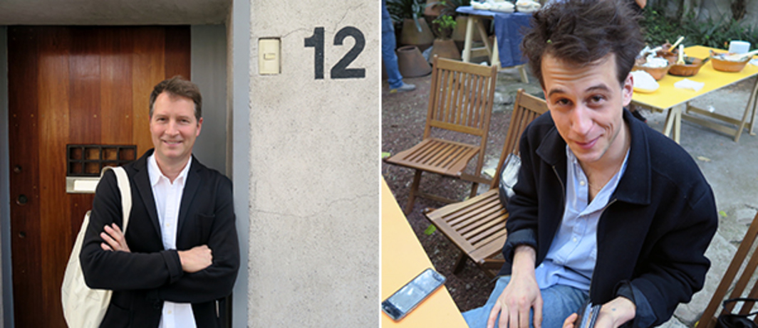 Left: Artist Terence Gower at the door of Casa Barragán. Right: Artist Yves Scherer.