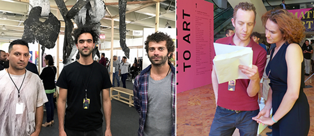 Left: Artists Pablo Concha, Adolfo Bimer, and Matia Solar. Right: Artist Michelangelo Miccoli preparing for a performance at the Material Art Fair.
