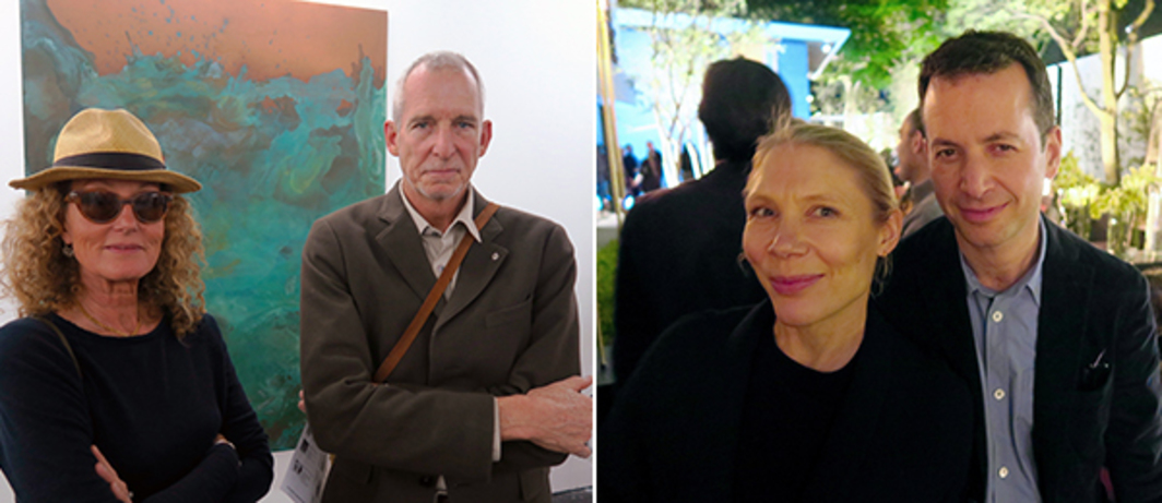 Left: Carpe Diem Press publisher Alexandra Brown and artist James Brown. Right: Writer Emily King and Frieze cofounder Matthew Slotover.