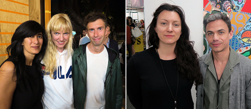 Left: Curator Abaseh Mirvali, artist Nina Beier, and Stefano Cernuschi. Right: Dealers Laura Bartlett and Martin Coppell.