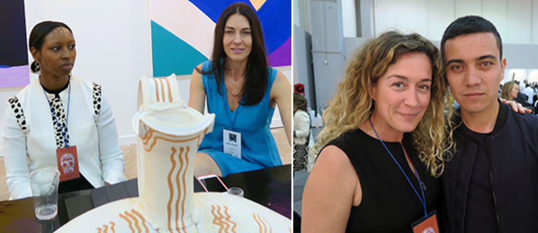 Left: Dealers Ashley Stewart and Alissa Friedman. Right: Dealer Peggy Leboeuf and artist Ivan Argote.