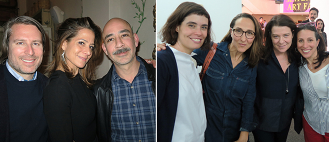Left: Design Miami director Rodman Primack with art advisor Pippa Cohen and dealer Adrian Rosenfeld. Right: PAC (Patronato de Arte Contemporáneo) director Mariana Munguia with Gabriela Camara, Melissa Schiff Soros, and Katie Hollander