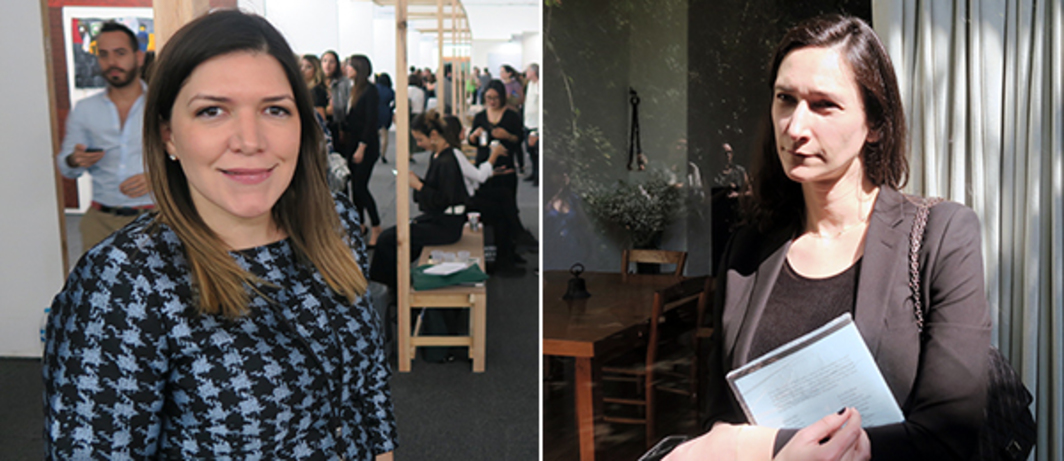 Left: Material Art Fair VIP relations director Isa Natalia Castilla. Right: ForYourArt founder Bettina Korek.
