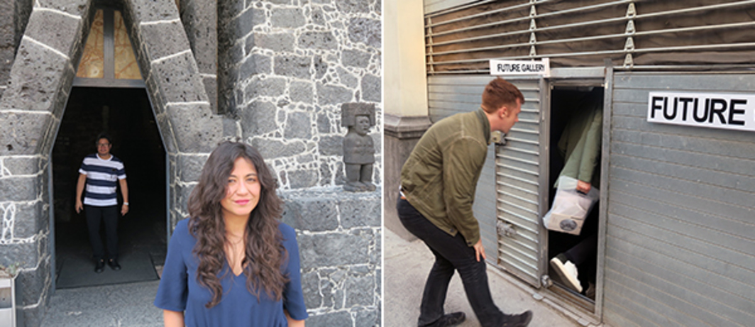 Left: Museo Anahuacalli-Diego Rivera curator Karla Nino de Rivera Torres. Right: Writer Kevin McGarry and Hans Ulrich Obrist.