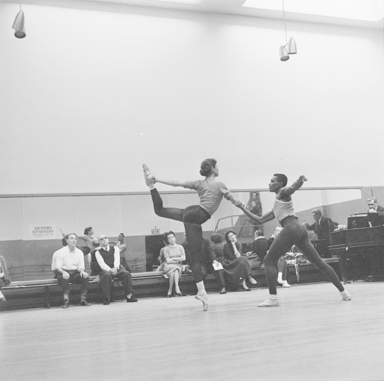 George Balanchine, Agon, 1957. Rehearsal view, 1957. George Balanchine and Igor Stravinsky watch Diana Adams and Arthur Mitchell. Photo: Martha Swope.