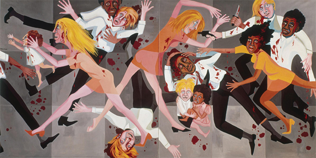 *Faith Ringgold, _American People Series #20: Die_, 1967*, oil on canvas, 6 × 12'.