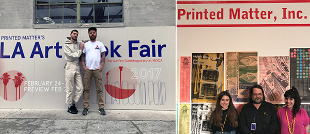 Left: Coorinator of Printed Matter Fairs and Editions Jordan Nassar and curator of Printed Matter Fairs & Editions Shannon Michael Cane. (Photo: Kevin Devine) Right: Printed Matter's Krista Manrique, Max Schumann, and Leslie Lasiter.