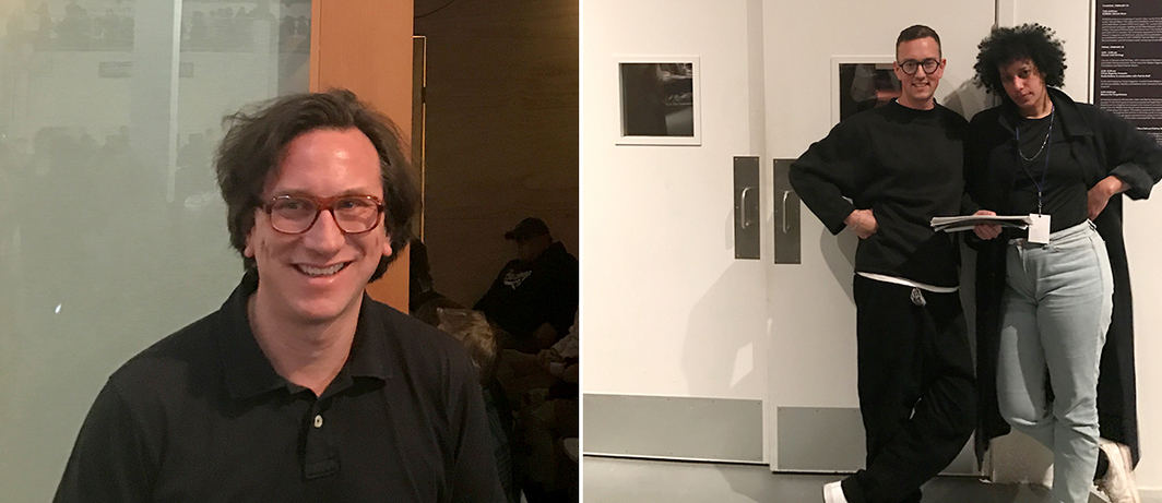 Left: LAABF Classroom program curator / MoMA librarian David Senior. Right: Artists Marco Kane Braunschweiler and Hannah Black before MoCA Screen of Black's recent video works.