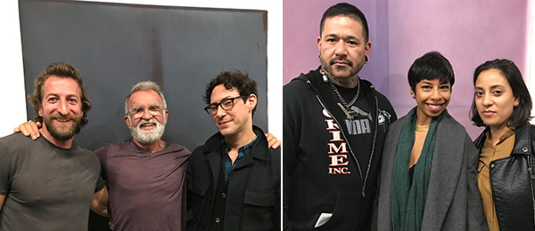 Left: Photographers Ben Smales and Tom Bianchi and publisher Alex Galan with Jeremy Everett painting at Wilding Cran Gallery. Right: Curator Toro Castano and artists Kia Labeija and Taina Larot with Jeremy Everett painting at Wilding Cran Gallery.