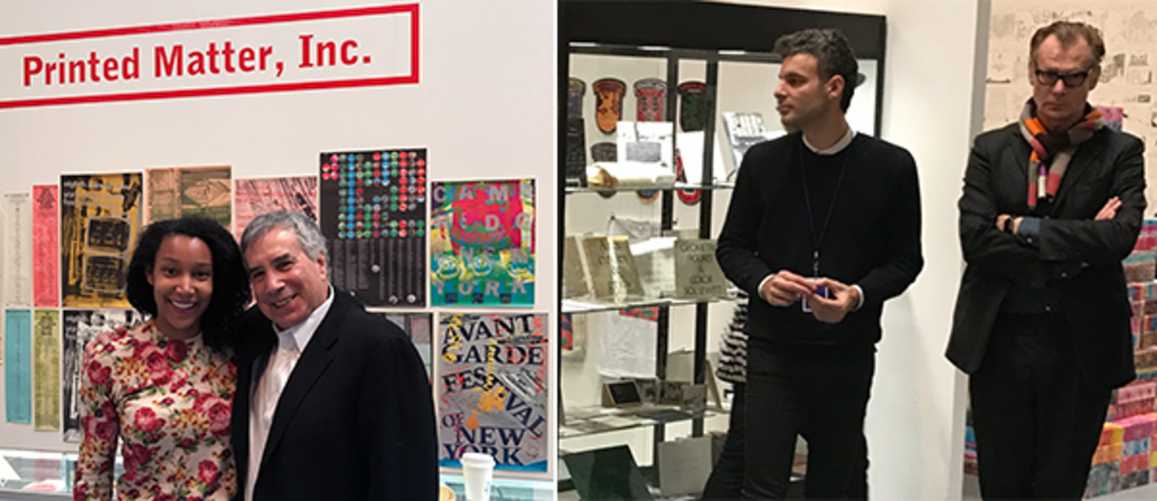 Left: Creative Time and Brooklyn Museum board member Victoria Rogers and Printed Matter board president Philip Aarons. Right: Fillip's Jeff Khonsary and MoCA Los Angeles director Philippe Vergne.
