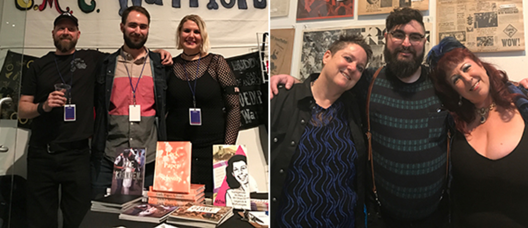 Left: Die Kränken's Jonesy Knight and ONE Archives's David Evans Frantz and Cooper Mull. Right: Artists Beth Stephens, Ben Cuevas and Annie Sprinkle.