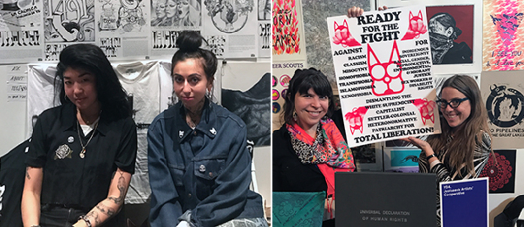 Left: Rhylli and Discipline Press's Tamara Santibañez. Right: Justseed Artists Cooperative Mary Tremonte and Meredith Stern.