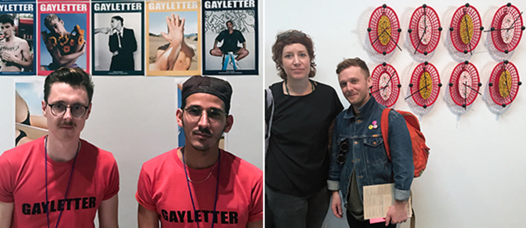 Left: Gayletter founders Tom Jackson and Abi Benitez. Right: Artist Jesse Harrod and curator Danny Orendorff with Ricky Swallow artwork.