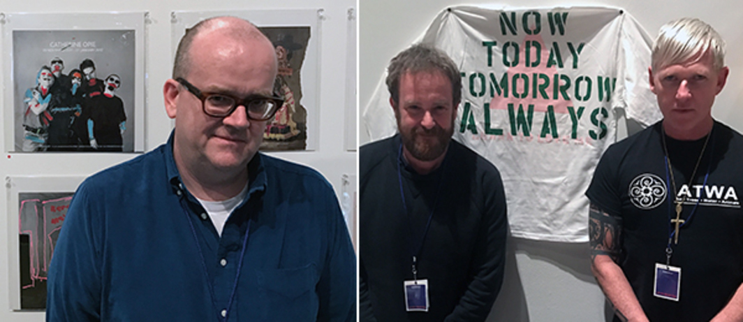 Left: White Columns' Matthew Higgs with artwork by Karen May. Right: Pre-Echo Press's Matt Connors and Heinzfeller Nileisist's Frank Haines with Marc Hundley shirt.