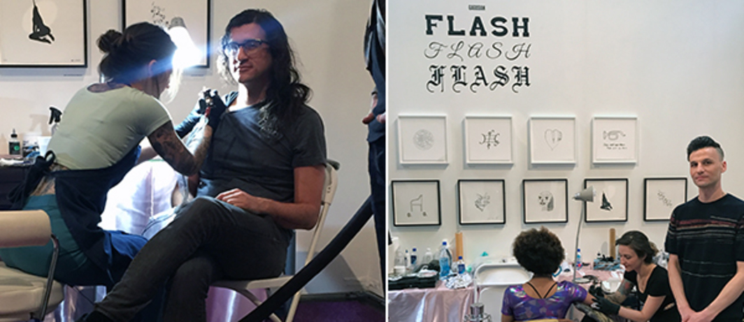 Left: Andrew Berardini getting a Sterling Ruby tattoo at Gagosian Gallery's Flash Flash Flash An Exhibition as Tattoo Parlor. Right: Benjamin Lee Ritchie Handler Gagosian Gallery's Flash Flash Flash An Exhibition as Tattoo Parlor.
