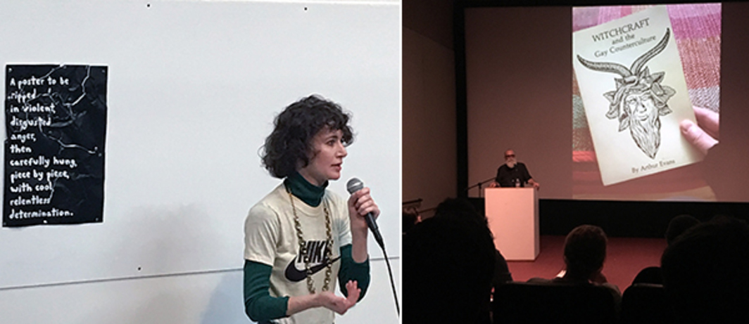 Left: Artist Miranda July. Right: Founder of Printed Matter's Art Book Fairs AA Bronson during his keynote presentation My Life in Books.
