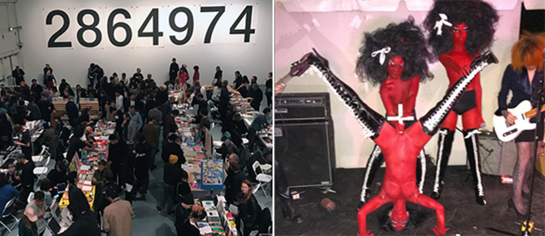 Left: Hillary Clinton's popular vote victory margin as of January 2017 as mural poster artwork by Mike Mills & Experimental Jetset mural poster artwork. Right: LAABF Opening Night performance by Kembra Pfahler's band The Voluptuous Horror of Karen Black.