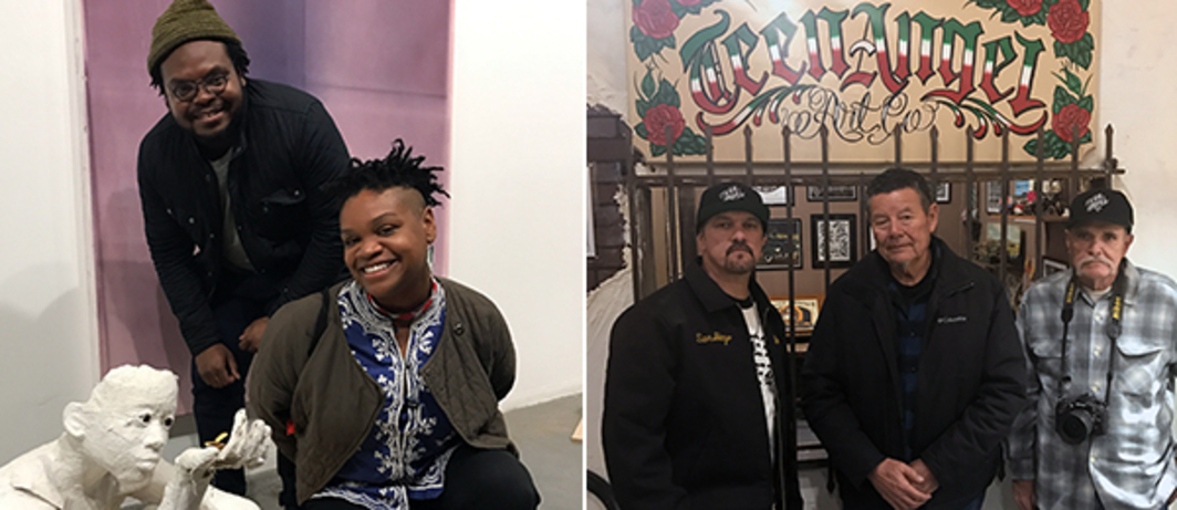 "Left: Andy Robert and Hammer Museum ""Made in LA"" 2018 Curator Erin Christovale with sculpture by Karon Davis at Wilding Cran Gallery. Right: David de Baca and Teen Angels zine artwork contributors Meme Ortega and Howard Gribble."