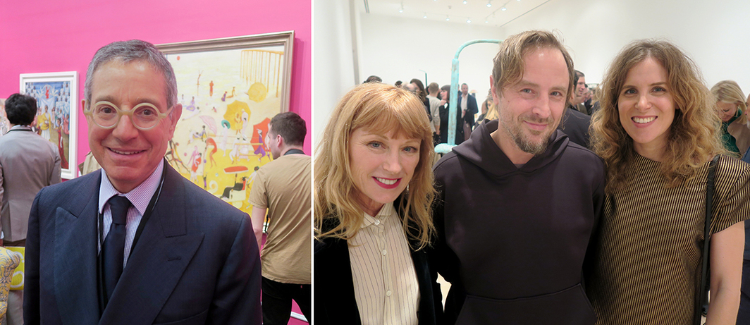 Left: Dealer Jeffrey Deitch. Right: Artists Cindy Sherman, Sterling Ruby, and Melanie Schiff. (Except where noted, all photos: Linda Yablonsky)