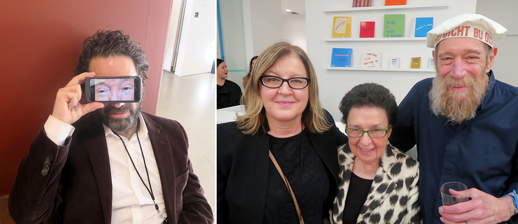 Left: Dealer Gavin Brown. Right: Artist Eija-Liisa Ahtila, dealer Marian Goodman, and artist Lawrence Weiner.