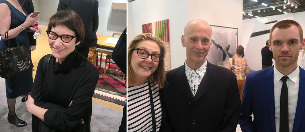Left: Nancy Spector, Guggenheim Museum artistic director and chief curator. Right: Shelly Fremont, John Waters, and Frankie Rice.