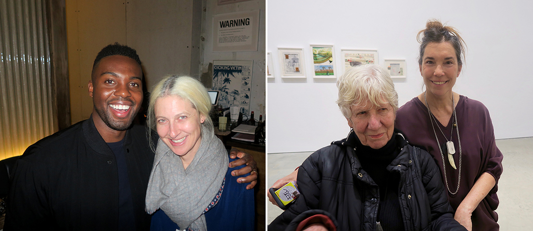 Left: Artist Adam Pendleton with dealer Janine Foeller. Right: Artist Mary Heilmann with dealer Lisa Spellman.