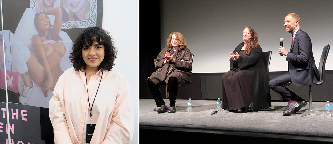 Left: Dealer Vanessa Carlos. Right: Artists Lynn Hershman Leeson and Tania Bruguera with Stuart Comer, MoMA's chief curator of media and performance.