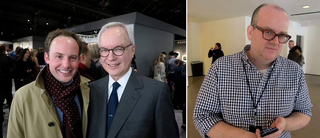 Left: Scott Rothkopf, Whitney Museum deputy director of programs and chief curator, and art attorney John Silberman. Right: White Columns director Matthew Higgs.