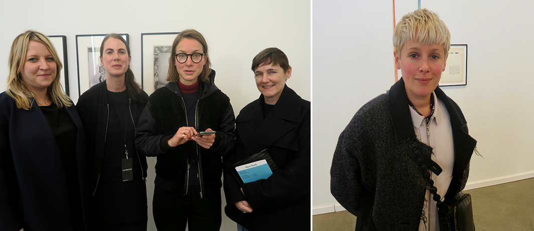Left: Curator Nicola Lees, dealer Emma Robertson, artist Magali Reus, and dealer Sadie Coles. Right: Artist Helen Marten.
