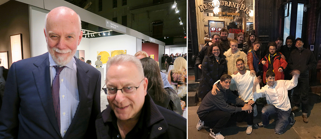 Left: Guggenheim director Richard Armstrong with Joel Wachs, president of the Andy Warhol Foundation. Right: Artist Ryan McGinley and crew outside Lucky Strike. (Photo: David Velasco)