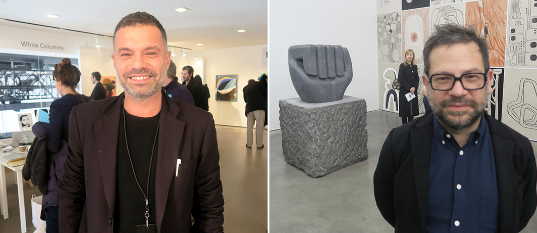 Left: Dealer Daniele Balice. Right: Artist Pedro Reyes.