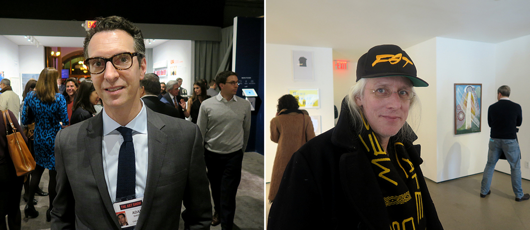 Left: Dealer Adam Sheffer. Right: Curator and writer Carlo McCormick.