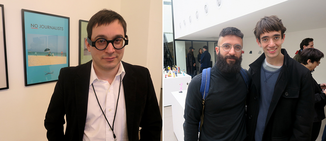 Left: Dealer David Lewis. Right: Dealer Paul Soto and artist Andres Eidelstein.