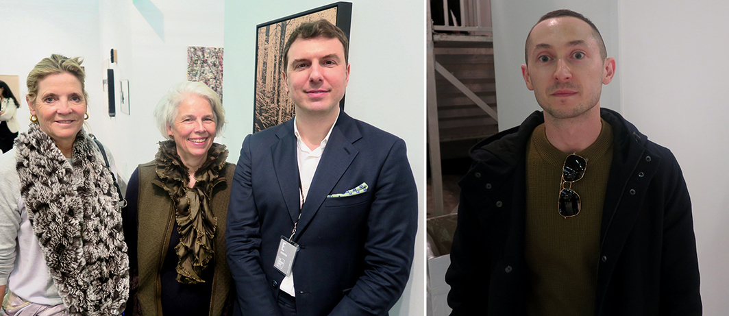 Left: Advisors Julie Graham and Maria Friedrich with dealer Photios Giovanis. Right: Alex Gartenfeld, ICA Miami deputy director and chief curator.