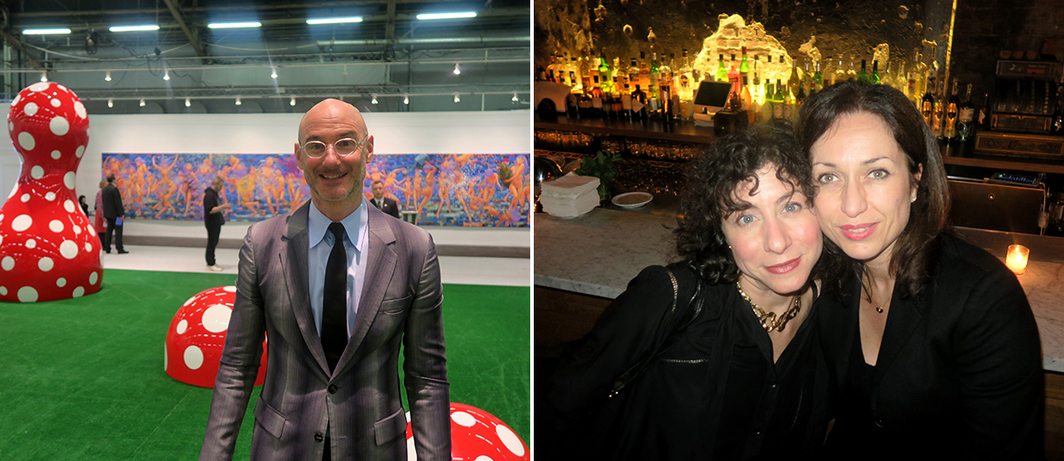 Left: Armory Show director Benjamin Genocchio. Right: Artist Lisa Oppenheim and Pompidou Foundation curator of American art Florence Derieux.