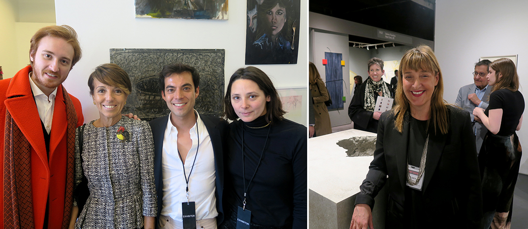 Left: Collectors Emilio Re Rebaudengo and Patrizia Sandretto Re Rebaudengo with dealers Robbie Fitzpatrick and Alex Freedman. Right: Dealer Tanya Bonakdar.