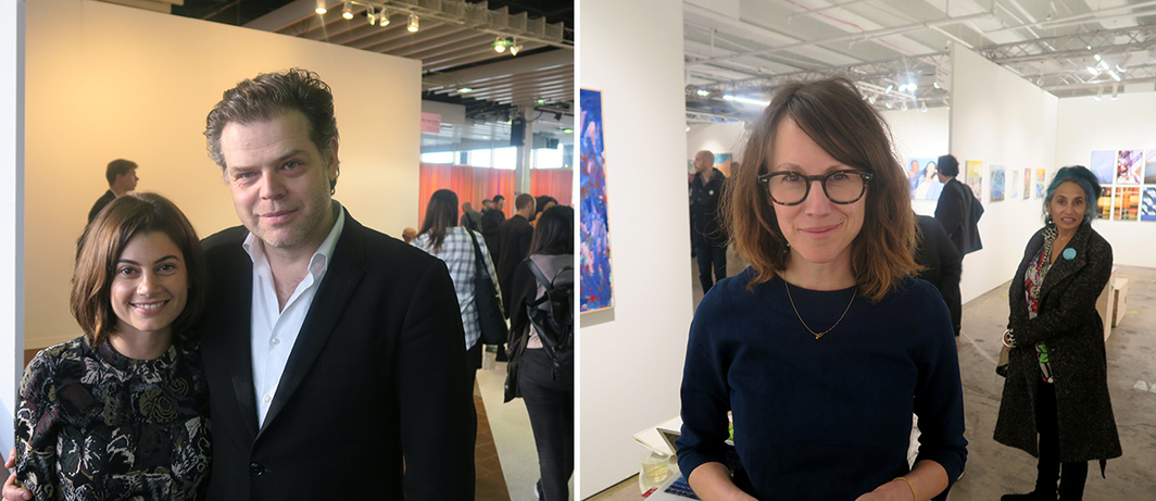 Left: Curator Jarrett Gregory and Institute for Human Activities director Renzo Martens. Right: Dealer Tif Sigfrids.