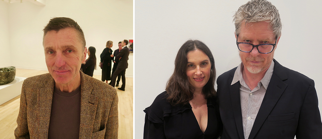 Left: Artist Albert Oehlen. Right: Artists Jennifer Guidi and Mark Grotjahn.