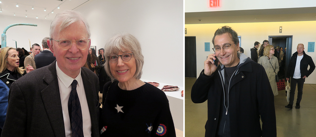 Left: Curator John Elderfield and Jeanne Collins. Right: Collector and Aïshti Foundation founder Tony Salamé.