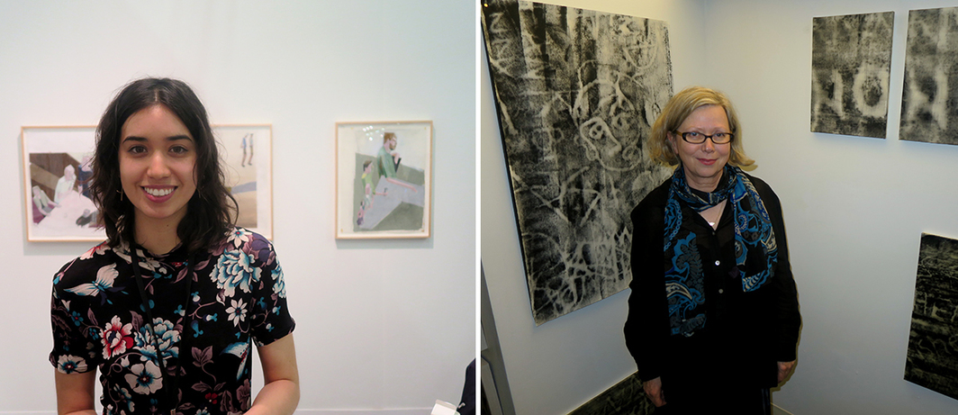 Left: Dealer Sara Hartman. Right: Artist Brigitte Engler.