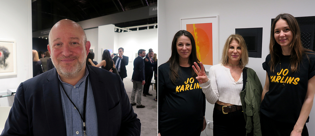 Left: Dealer Michael Rosenfeld. Right: Artists Jo Karlines with (c) artist Jo Shane.