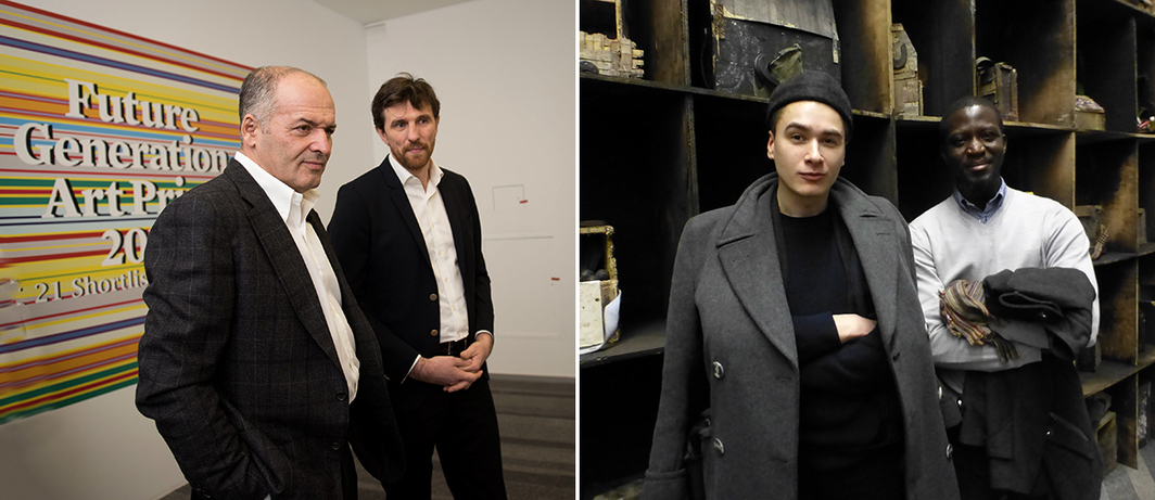 Left: PinchukArtCentre's founder Victor Pinchuk and artistic director Bjorn Geldhof. (Photo: Sergey Ilin, PinchukArCentre) Right: Artist Nikita Kadan with  Future Generation Art Prize nominee Ibrahim Mahama. (Except where noted, all photos: Kate Sutton)