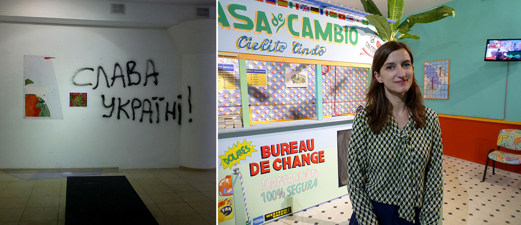 "Left: Damage to Davyd Chychkan's exhibition ""Lost Opportunity"" at VCRC. Right: FGAP curator Anna Smolak with Sol Calero's Casa de Cambio."
