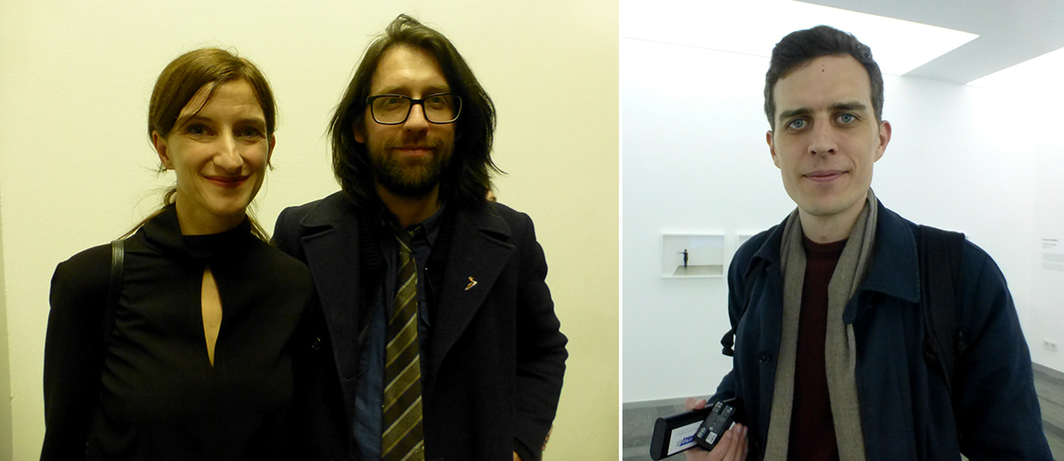 Left: FGAP curator Anna Smolak with FGAP nominee Andy Holden. Right: FGAP nominee Christian Falsnaes.